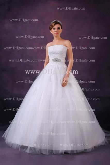 2013 Allanhu New Sexy Strapless Applique Lace Tulles Beads Ball Gown Wedding Dresses DH4105