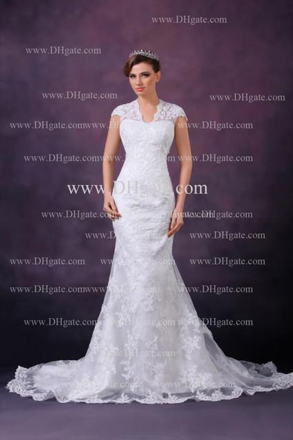 2013 New Elegant Sexy New V-neck Applique Lace Open Back Mermaid Lace Wedding Dresses DH4100