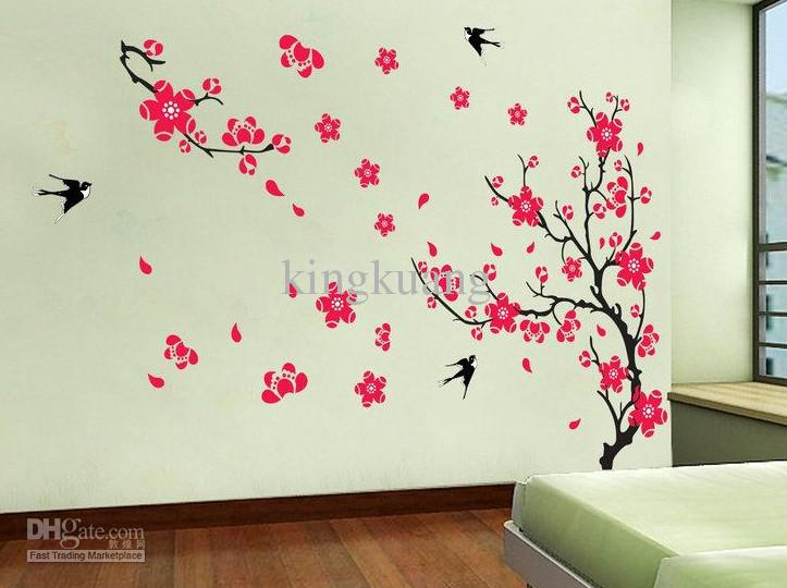Removable Wall Stickers Living Room Sofa Tv Background Wallpaper Plant Swallon Wall Art Decor