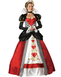 Wholesale Sexy Women Stage - Sexy Halloween Costumes For Womens Cosplay Premier Queen of Hearts Sequin Victorian Costume Dress Adult Stage Wear Outfit