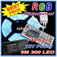 Pas Cher RGB LED Strip imperméable à l'eau 5M SMD 5050 300 LEDs / Rouleau +44 touches IR Remote + 12V 5A Power Adapter