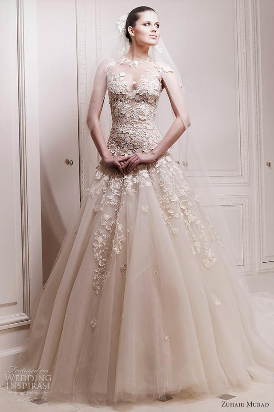 Discount Zuhair Murad Tulle Wedding Dress Champagne Jewel See ...