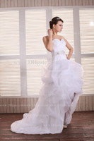 Wholesale Dhgate Red Wedding Dress - 2013 Dhgate Hot Sweetheart Ruffles Organza Hi Lo Length Beaded A Line Wedding Dresses BO0305