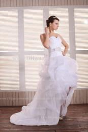 Wholesale Dhgate Red Wedding Dress - 2013 Dhgate Hot Sweetheart Ruffles Organza Hi Lo Length Beaded A Line Wedding Dresses BO0305