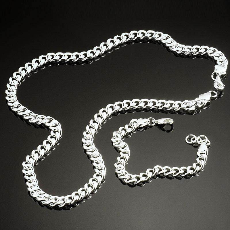 Hot Selling Mens 925 Silver Nonallergenic Fashion Male Jewelry Set Necklace Bracelet set Round Chain Selected Quality S56
