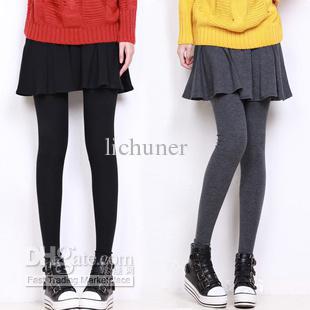 Fashion Womens Slim Leggings Pants Plush Pleated Skirt Winter Warm Skinny Pants