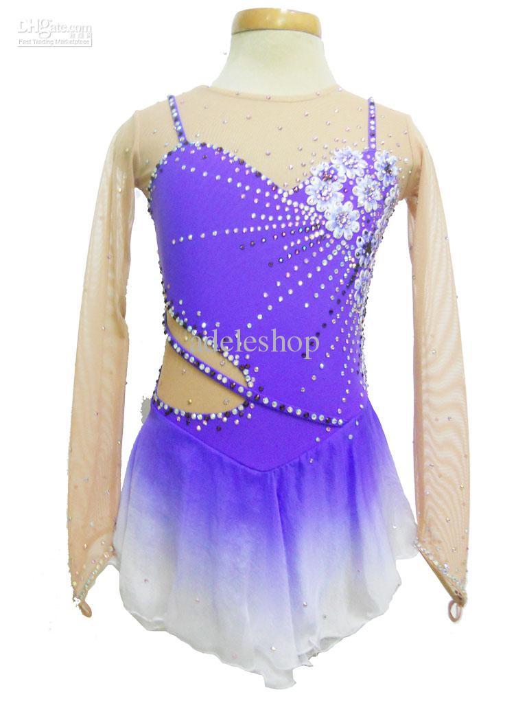 2017 Purple Halter Ice Skating Dresses Embroidery, Skating Suit ...