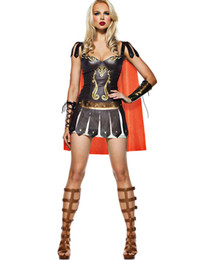 Wholesale Sexy Women Leather Uniforms - Sexy Halloween Costumes For Women Faux Leather Medieval Renaissance Dress Warrior Princess Costume Set Uniforms Outfits Cosplay dress H39128