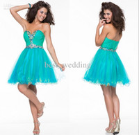 Wholesale Diamond Short Homecoming Dresses - 2015 Cheap sweetheart Homecoming Dresses pleated diamond beaded tulle A-line short cocktail dress mini length Formal homecoming gowns CD038