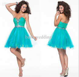 Wholesale Diamond Dress Short Beaded - 2015 Cheap sweetheart Homecoming Dresses pleated diamond beaded tulle A-line short cocktail dress mini length Formal homecoming gowns CD038