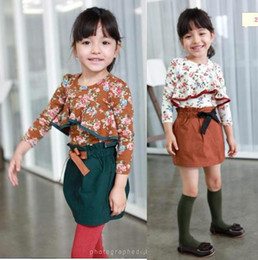 Wholesale Girls Tee Shirt Dress Wholesale - girls' sets girls' suits baby outfits flower baby dresses tee skirts baby shirt T-shirts C446