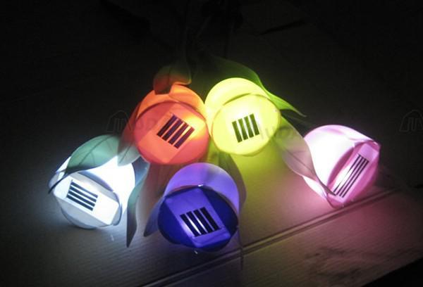Utomhusgården Trädgårdsväg Sol Power LED Tulpan Landskap Blommampa Ljus