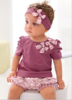 Wholesale Scarf Short Sleeve - Hot Sale Children suits Girls purple T-shirt floral shorts set T-shirt+ shorts + scarf 3 s l