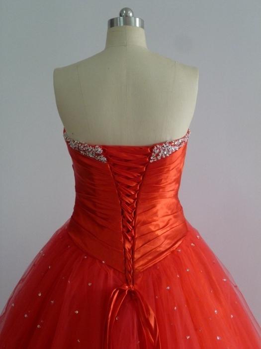 Réel en Stock Robes de Quinceanera Exqusite Ruffle Cristal Sweetheart Robes De Bal Organza Robes De Bal Sweet 16 Robes