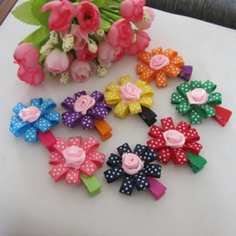 Wholesale Infant Flower Hair Clips - Fashion Baby Hair Clips Infant Girl Hair Flower Headwear Kid's Hair Accessories Mix Color