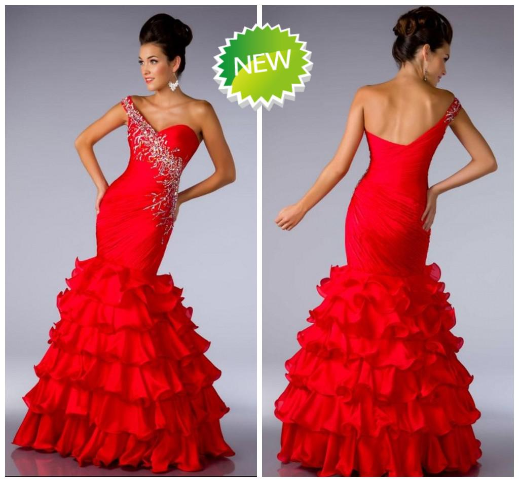 Red Sexy Mermaid Evening Dresses One Shoulder Organza Tiered ...