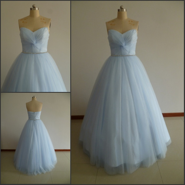 Real Pictures Sweetheart Neck Quinceanera Dresses Light Blue Pleats Beaded Ball Gown Prom Dresses Quinceanera Party Dresses