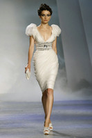 graue tüllkleider großhandel-2018 Cocktailkleid mit V-Ausschnitt, knielang, Flügelärmel, Mantel aus weichem Tüll, Fashion-Party-Kleid EDa050