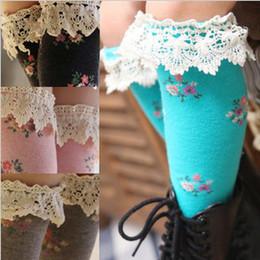 Wholesale Tube Socks Hot - 2016 Girls Socks Kids Socks Floral Socks Hot Sell Korean Girls Cotton Floral Lace Tube Socks Children Tube Sock 4999