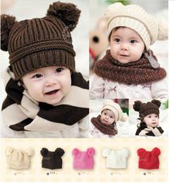 Wholesale Girls Hair Caps - fashion kid cap Double hair bulb boy woolen yarn hat winter keep warm girl caps baby Accessories