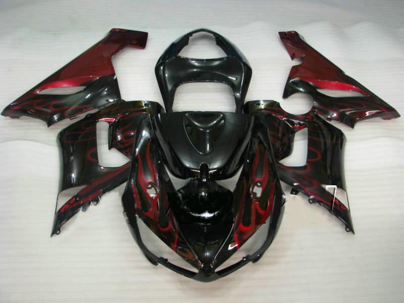 川崎忍者ZX6R 05 06 Bodywork ZX-6R 636 ZX 6R 2005 2006赤黒フェアリングボディキットKG71