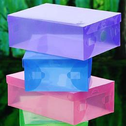 Wholesale Clear Plastic Shoe Box Wholesale - 150pieces lot CLEAR plasic FOLDABLE storage box for SHOES MIX colors)