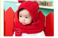 Wholesale Child Baby Hat Twinset - children woolen yarn hat Hat scarf conjoined twin twinset 2013 girl cap boy hats baby Accessories