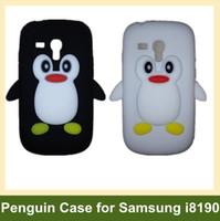 Wholesale Galaxy S3 Penguin Case - Wholesale Cute 3D Penguin Soft Silicone Cover Case for Samsung Galaxy SIII S3 Mini i8190 10pcs lot