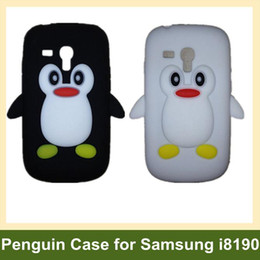 Wholesale Case 3d S3 Mini - Wholesale Cute 3D Penguin Soft Silicone Cover Case for Samsung Galaxy SIII S3 Mini i8190 10pcs lot
