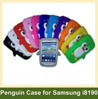 Wholesale Galaxy S3 Penguin Case - Wholesale Fashion Penguin Soft Silicone Cover Case for Samsung Galaxy SIII S3 Mini i8190 24pcs lot