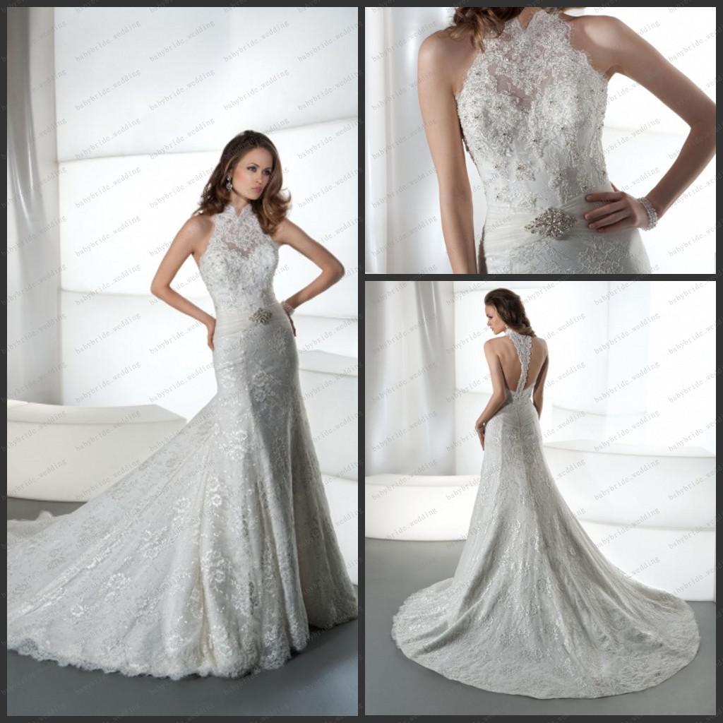 Sexy Halter T Back Sheath Bridal Gowns Jeweled Lace Tulle