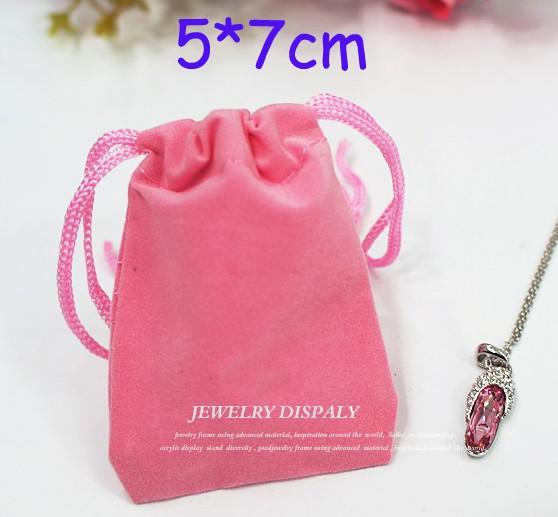 200 stks Paars 5 * 7cm Fluwelen Sieraden Oorbel Ringen Ketting Tassen Bruiloft Candy Xmas Gift Tassen