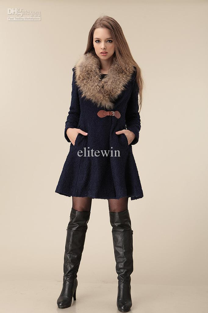 2017 2013 New Slim Trench Coat Fur Collar Women's Long Coat Woolen ...