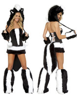 Wholesale Sexy Skunk - Cosplay Sexy Animal Costumes For Women Adult Furry Sexy Flower Skunk Costume Fursuit Uniforms Outfits O31181