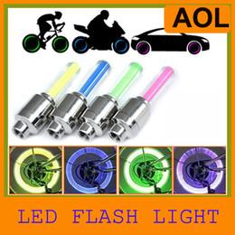 Wholesale Novelty Bike Lights - Novelty Car Bike LED Flash Tyre Light Wheel Valve Stem Cap Lamp Motorbicycle Wheel Light 50pcs Lot