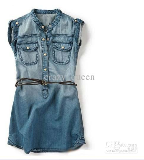 2016 Baby Girls Denim Dresses With Belt Jean Dresses Kids ...