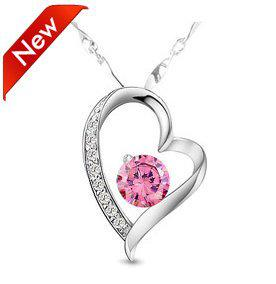 Wholesale new design pink zircon pendant necklace heart jewelry new design pink zircon pendant necklace heart jewelry pendant 10pcslot free shipping aloadofball Gallery