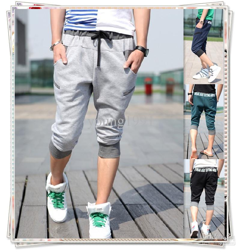 100% high quality fashion best quality for 2019 New Short Men'S Pants Slim Fit Casual Dance Training Sport Cropped  Trousers YJ470 Free Ship From Young1991, $16.81   DHgate.Com