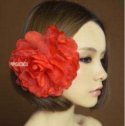 Flower Hairpin Brooch Canada - 11 Colors Brital Hair Accessories Hairpins Brooch Big Peony Flowers Silk Yarn Celebrity 24pcs Lot