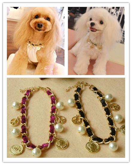 Gratis Verzending Huisdier Luxry Parel Sieraden Dog Fashion Collar Necklace Rose-Carmine Black Two Colors1