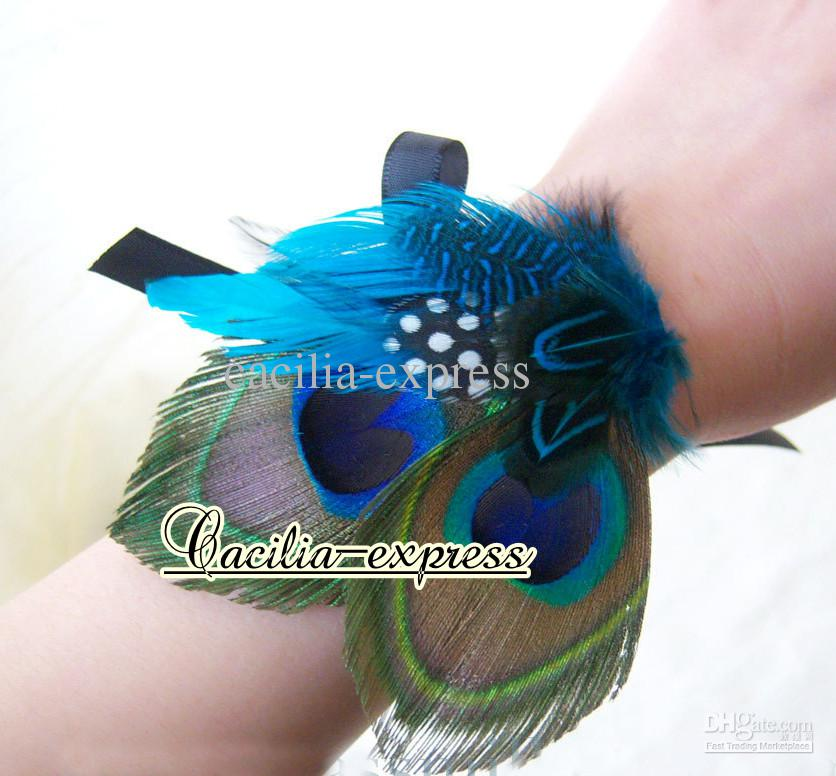 Bridal Fascinator Peacock Feather hair clip handmade Peacock Teal Turquoise 10p