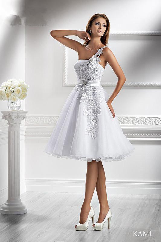 Discount Cheap 2013 One Shoulder Short Wedding Dress Kami A Line