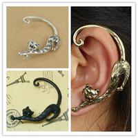 Wholesale Ear Bronze Punk - Gothic Ear Cuffs Alloy Punk Cat Ear Hook Earrings Bronze Silvery Black Vintage Jewelry 12PCS LOT ER108