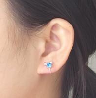 Wholesale black crystal clip earrings - New Ladies Silver U Clip Earrings Body Crystal Rhinestone Earrings Ear Cuff Black Blue HX2