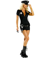 Wholesale Sexy Cosplay Police - Plus szie Naughty Officer Costume Cosplay Cop uniform Includes zipper front mini dress Hat belt and handcuff Sexy helloween costume