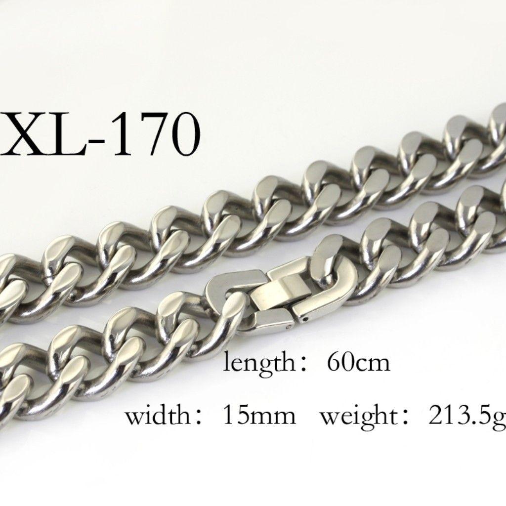 1 stks 15mm enorme zware slap-up mannen shinying sieraden zilveren roestvrijstalen link ketting 213.5g