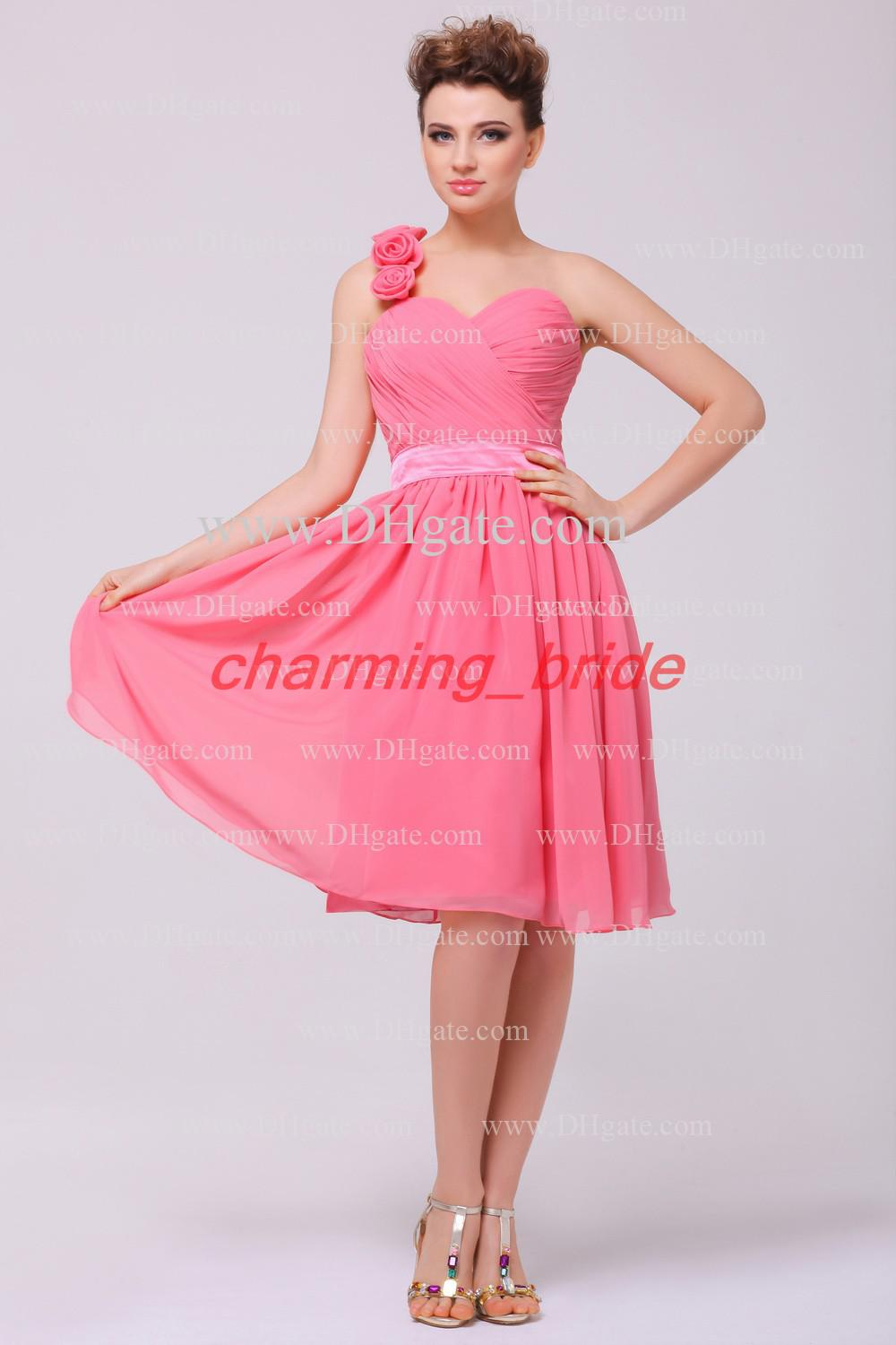 2013 hot pink bridesmaid dresses a line knee length flower one 2013 hot pink bridesmaid dresses a line knee length flower one shoulder sweetheart homecoming dress polka dot bridesmaid dresses popular bridesmaid dresses ombrellifo Image collections
