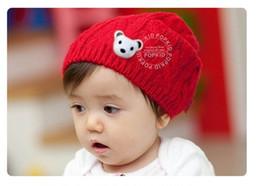 Wholesale Woolen Head Cap - Children caps kid woolen yarn hats boy hat Little Bear Set of head cap Hemp flowers baby hats