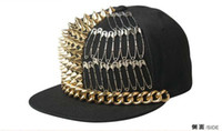 Gold Spike Studded Hip hop Caps Hommes Snapback Hat de baseball réglable Gold Spike Studs Silver Rivet Hats Punk Hats