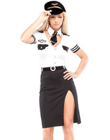 Wholesale Costumes For Short Women - Cosplay Pilot Costumes For Women Sexy Airline Pilot Costume Set Woman Dress Outfit 4 Pieces SP1363
